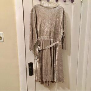 torrid Dresses - Shiny silver Torrid 3/4 sleeve wrap dress sz 3